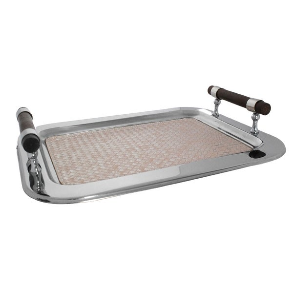 """Sol Living Rectangular Stainless Steel Serving Tray, Pink Leather - 16.5"""" x 13"""" x 2.8"""". Opens flyout."""