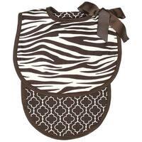Raindrops Baby Boys Zebra Bib And Burp Set, Brown - One size