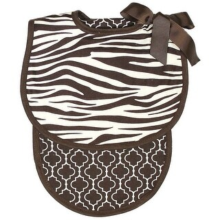Raindrops Baby Boys Zebra Bib And Burp Set, Brown - One size
