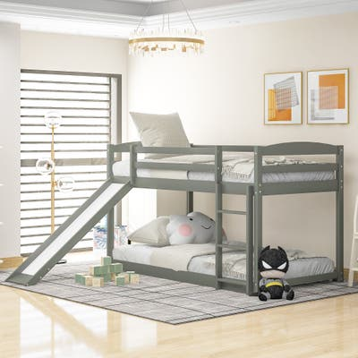 Wood Twin Over Twin Bunk Bed with Convertible Slide and Ladder