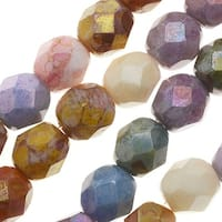 Czech Fire Polished Glass, 6mm Faceted Round Beads, 25 Piece Strand, Opaque Luster Mix
