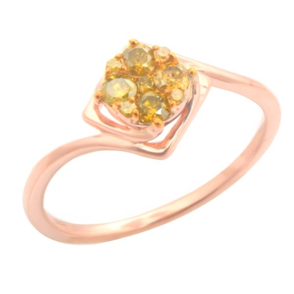 Brand New 0.26ct Round Brilliant Cut Yellow Color Trated Diamond Engagement Ring