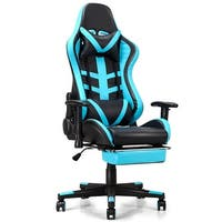 Costway Gaming Chair High Back Racing Recliner Office Chair w/Lumbar Support & Footrest - Blue