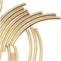 Gold Plated Curved Noodle Tube Beads 1.5mm x 20mm (50)