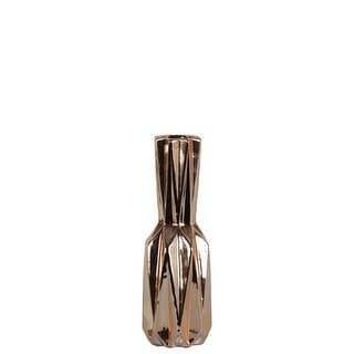 Ceramic Patterned Bottle Vase With Chrome Finish, Small, Rose Gold