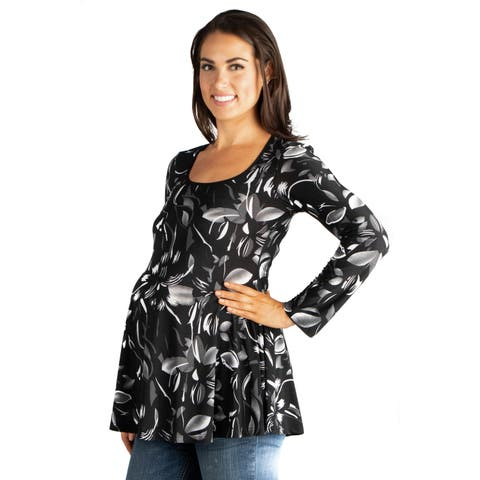 24seven Comfort Apparel Long Sleeve Maternity Tunic Top