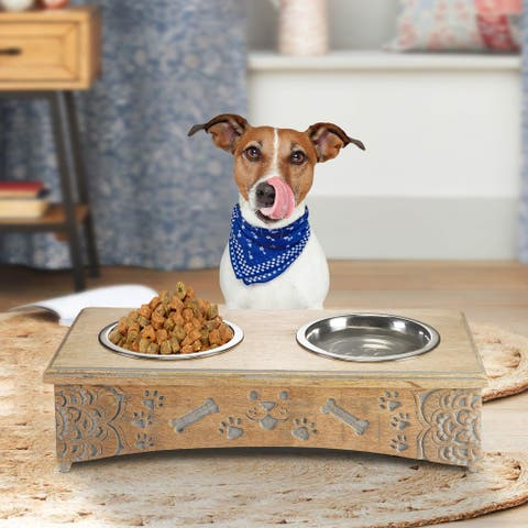 "Handmade Mango Wood Elevated Double Pet Feeder with Engraved Mandalas and Paws - 19"" x 9.5"" x 5"""