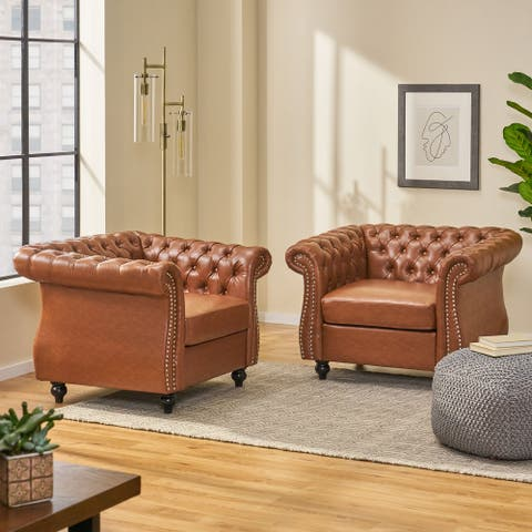 Silverdale Traditional Chesterfield Club Chairs (Set of 2) by Christopher Knight Home