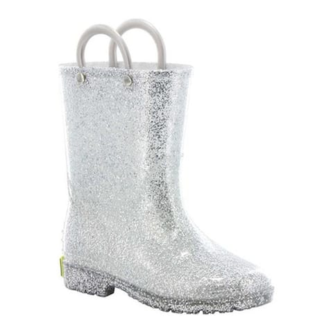 Western Chief Girls' Glitter Rain Boot Silver