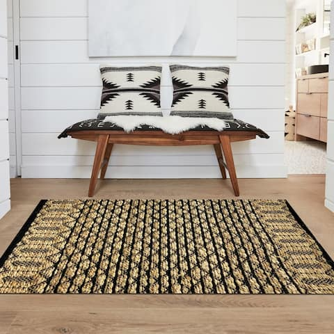 Hand-Woven Geometric Black and Jute Rug