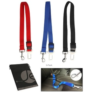 JAVOedge 3 Pack of Pet Seatbelt Car Strap, for Securing Pets in the Car (Black, Blue, Red) - black, blue, red