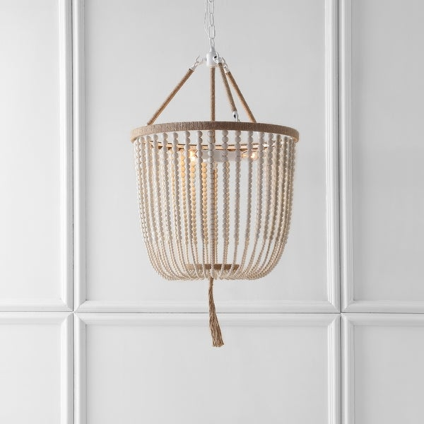 "SAFAVIEH Lighting Angie Beaded 3-light Cream Adjustable Pendant Lamp - 18""x18""x35.5 -107.5"". Opens flyout."