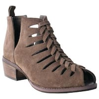 Nomad Women's Jill Peep Toe Bootie Taupe Suede