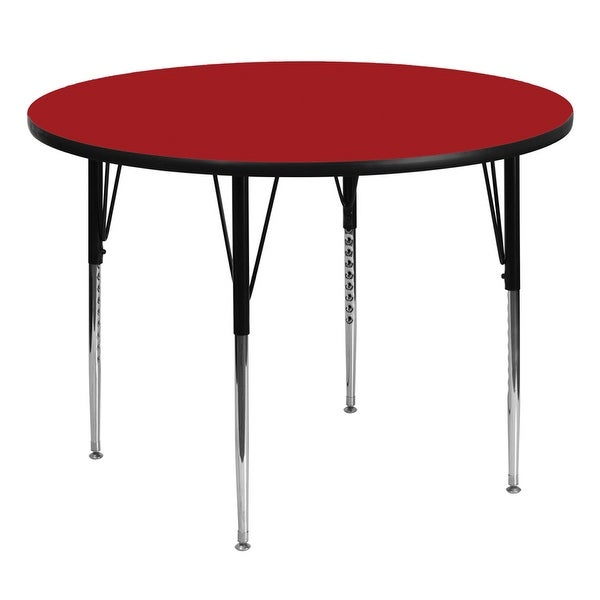 Offex 60'' Round Activity Table with Red Thermal Fused Laminate Top and Standard Height Adjustable Legs