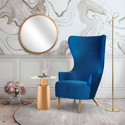 Inspire Me! Home Decor Julia Navy Wingback Velvet Chair