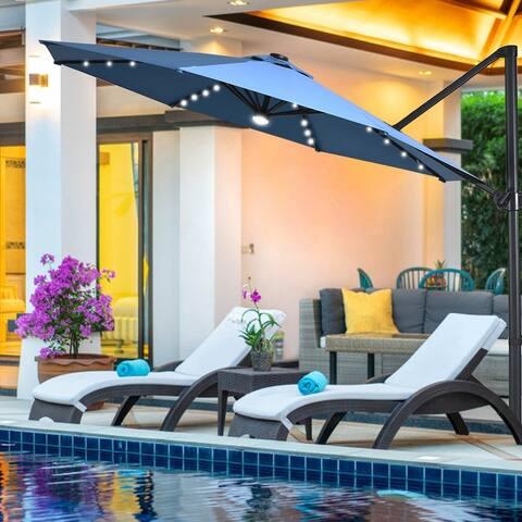Costway 10ft Solar LED Cantilever Offset Patio Umbrella 360dgrees