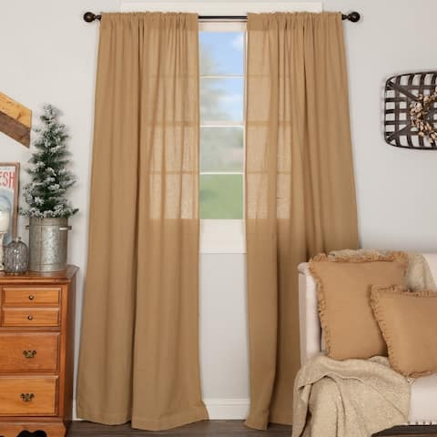 Farmhouse Curtains VHC Cotton Burlap Panel 84x40 Pair Rod Pocket Cotton Solid Color - Panel 84x40