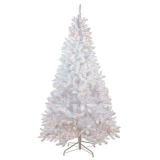 7' Snow White Pre-Lit Flocked Slim Artificial Christmas Tree - Clear Lights - 7 Foot