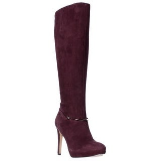 Nine West Pearson Wide-Calf Knee High Boots - Dark Red