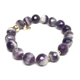 "Julieta Jewelry - 14k Gold Over Sterling Silver 10mm Purple Amethyst, Gold Hematite 'Triple Station' 7"" Stretch Bracelet"