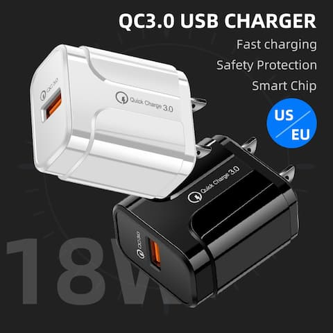 18W QC3.0 USB Charger Fast Charging USB Charger Adapter for iPhone Android US Plug