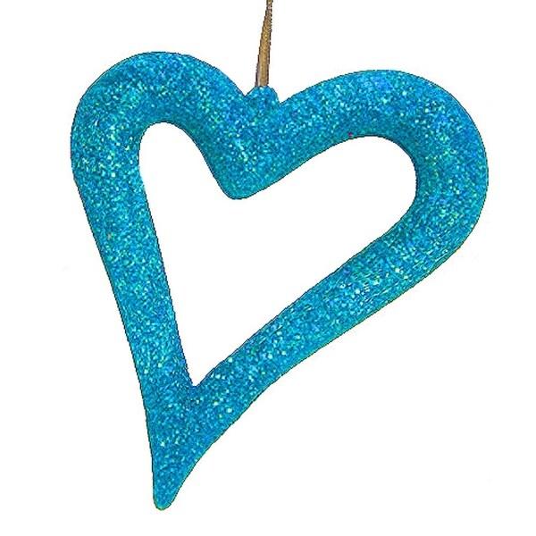 Jazzy Blue Glitter Asymmetrical Heart Christmas Ornament