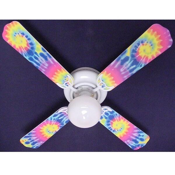 Groovy Tie Dye Print Blades 42in Ceiling Fan Light Kit - Multi