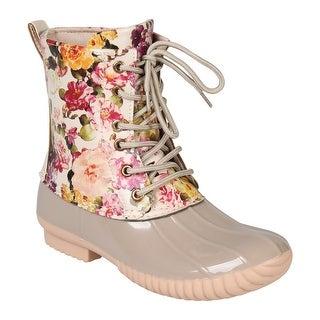 Avanti Women's Rosetta Rain Boots - Mid-Calf Floral Duck Boots - Cream Flowers - Cream Floral