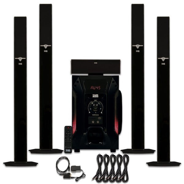 Acoustic Audio AAT1003 Tower 5.1 Speaker System w/ Optical Input & 5 Ext. Cables
