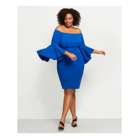 CALVIN KLEIN Blue Bell Sleeve Midi Dress 24W