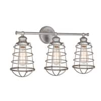 Design House 519728 Ajax Reversible 3-Light Dimmable Bathroom Vanity Light in Galvanized Finish - n/a