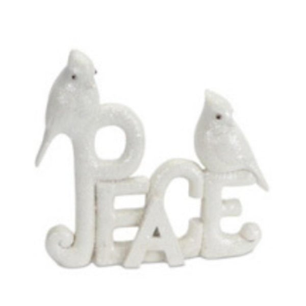 "8"" Off-White Sparkling Glittered ""Peace"" Christmas Sign with Birds - WHITE"