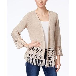 Style & Co Petite Pointelle-Knit Fringe Cardigan, Beige, S
