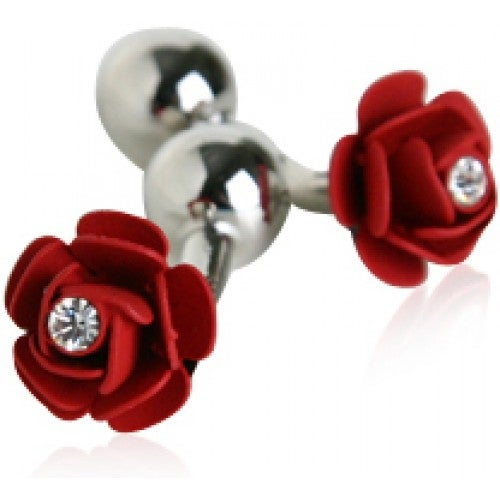 Rose Flower Red Cufflinks With Crystal