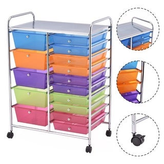 Costway 15 Drawer Rolling Storage Cart Tools Scrapbook Paper Office School Organizer