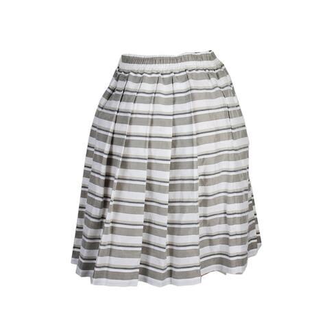 Maxmara White Grey Striped Educata Flare Skirt 8