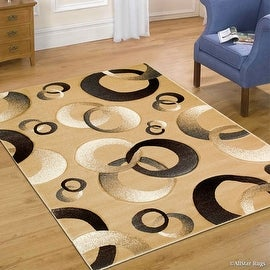 "Allstar Brown / Beige Woven Hand Carved Contemporary. Modern Circles Area Rug (7' 9"" x 10' 5"")"