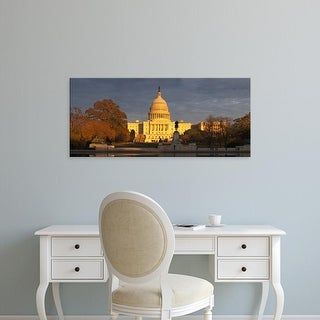Easy Art Prints Panoramic Image 'Pond in front of a government building, Capitol Building, Washington DC' Canvas Art