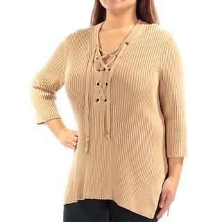 MICHAEL KORS $110 Womens New 1283 Beige Tie 3/4 Sleeve V Neck Sweater XL B+B