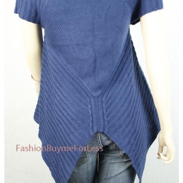 Navy Blue Mingle Wool Tailored Knit Sweater Retro-Sailor Cardigan Top S M L