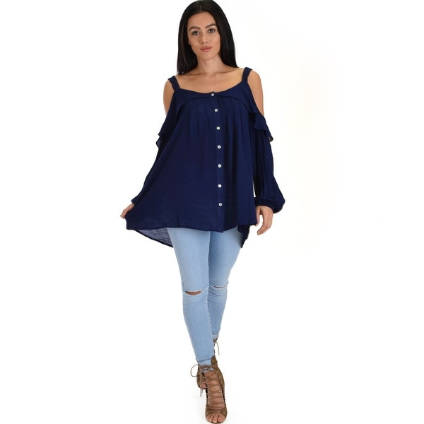 8bc4dc20f813ef Shop navy long sleeve cold shoulder button down ruffle top with lace  cobtrast sl4272 2 2 2-Navy-Medium - Free Shipping On Orders Over  45 -  Overstock - ...