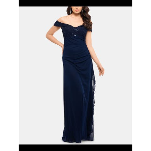 BETSY & ADAM Navy Cap Sleeve Full-Length Dress 16