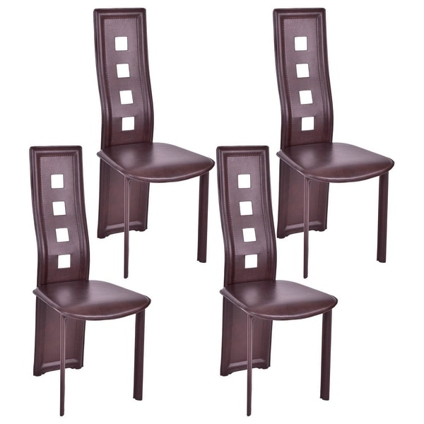 Shop Costway Set Of 4 Dining Chairs Steel Frame High Back