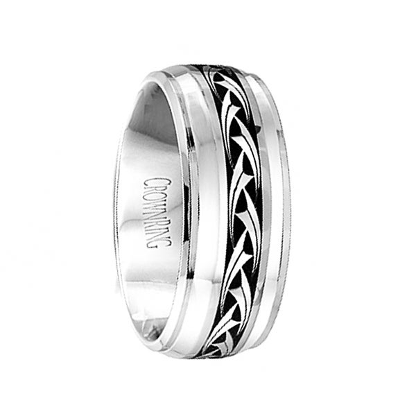 Polished Cobalt Men's Wedding Band with Center Pattern & Beveled Step Edges by Crown Ring - 9mm