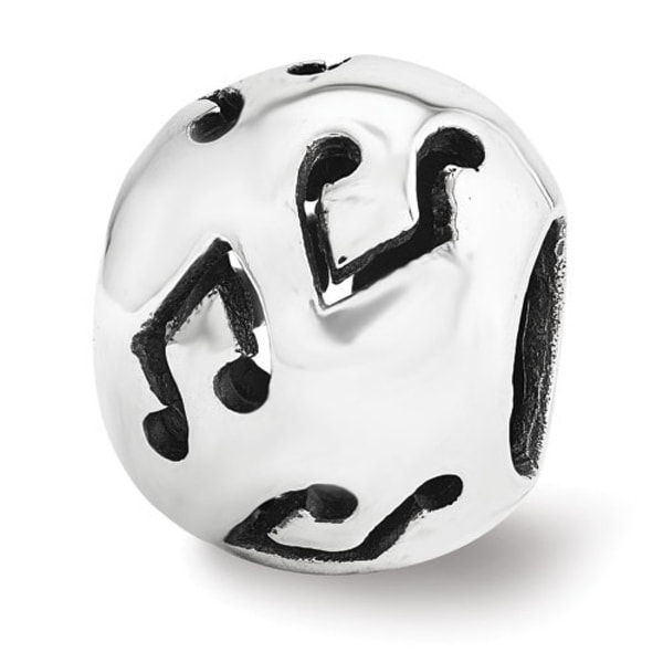 Sterling Silver Reflections Music Note Bead (4mm Diameter Hole)