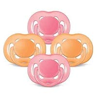 Pacifier Pink/Orange 6-18mth Freeflow Orthodontic Pacifiers