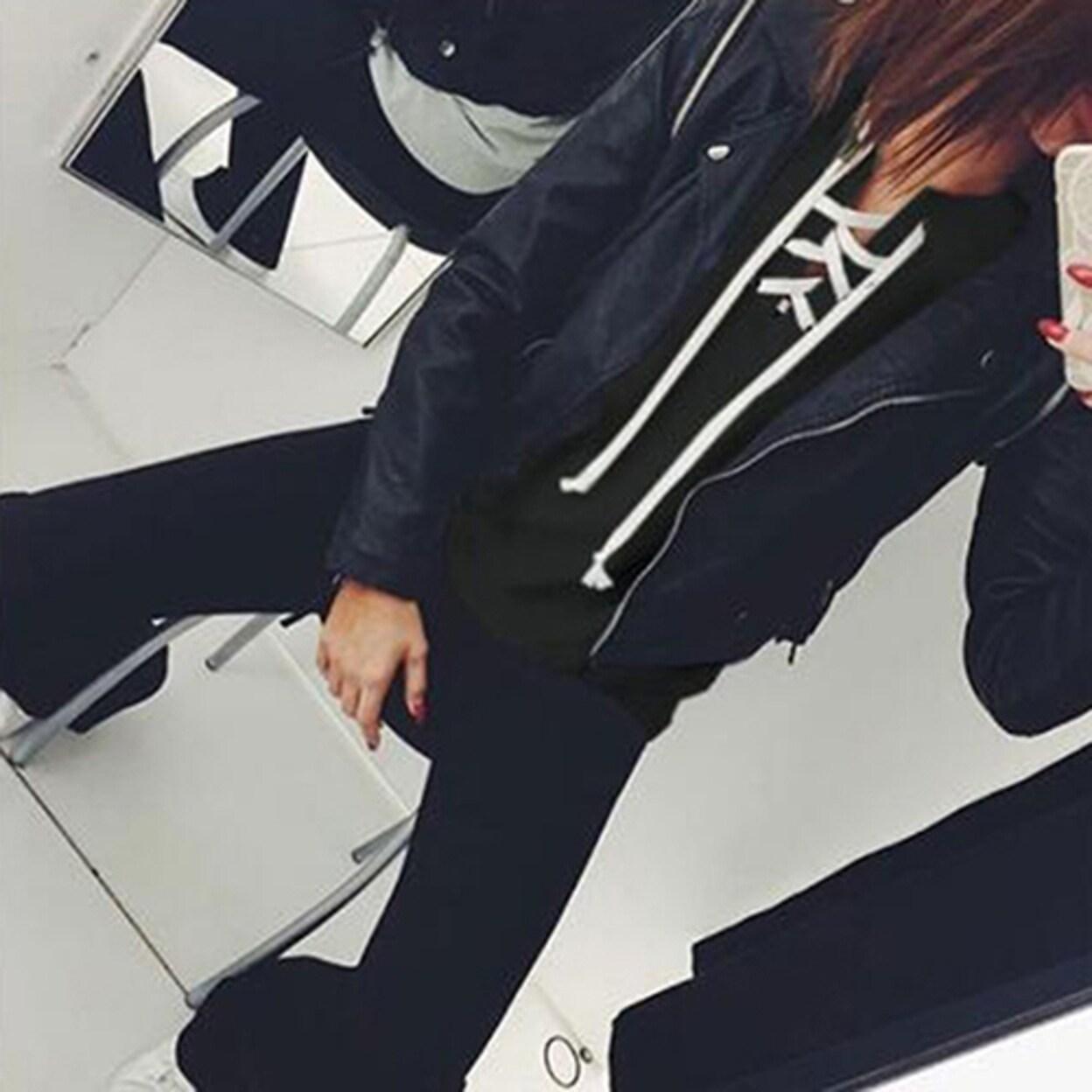 Women Fashion Solid Color Top Full Length Long Sleeve Hoodie Casual Sweatshirt