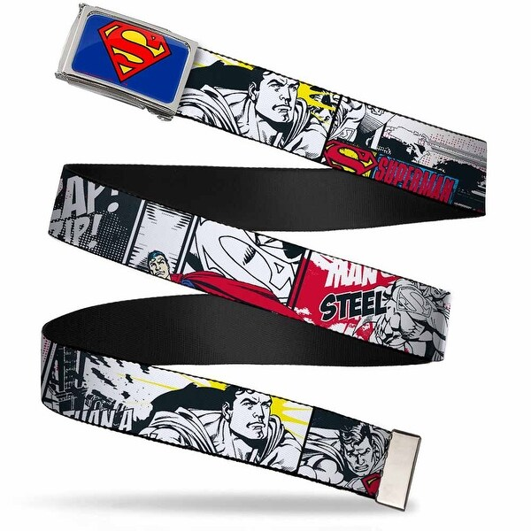 Superman Fcg Blue Chrome Superman Comic Strip Webbing Web Belt