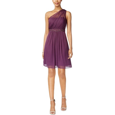 Adrianna Papell Womens Cocktail Dress One Shoulder Tulle