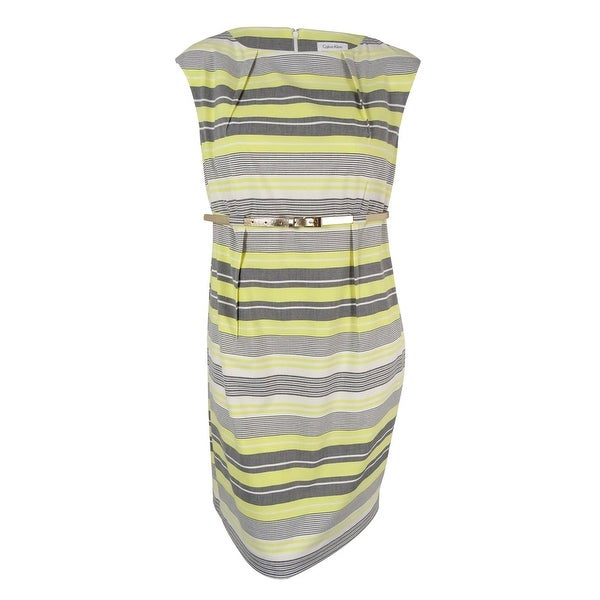 420e02be Shop Calvin Klein Women's Cap-Sleeve Belted Striped Sheath Dress (20W,  Yellow/Multi) - Yellow/Multi - 20W - Free Shipping Today - Overstock -  16501799